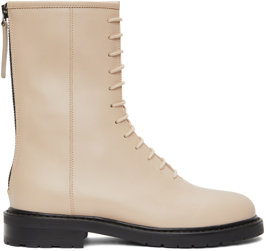 Beige Leather Combat Boots