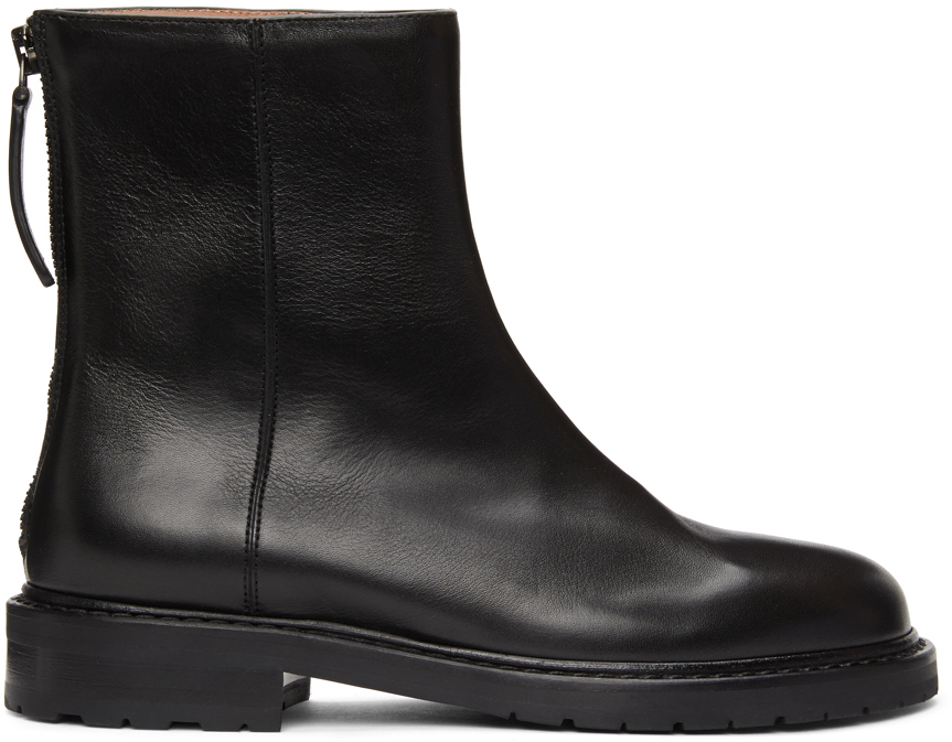 Black Leather Officer Boots