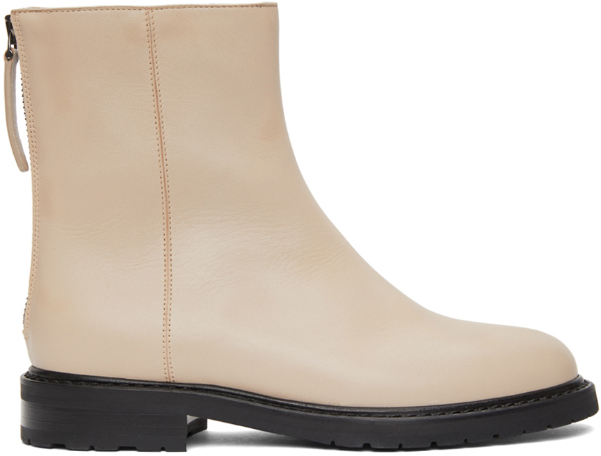 Beige Leather Officer Boots