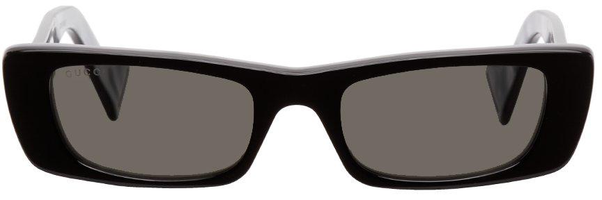 Gucci Black & Grey Rectangular Sunglasses