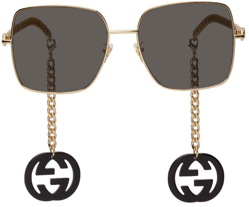 Black & Gold Chain Runway Sunglasses