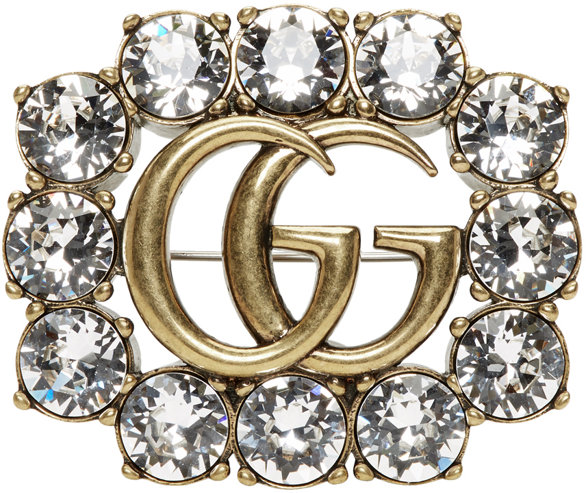 Gold Crystal GG Marmont Brooch