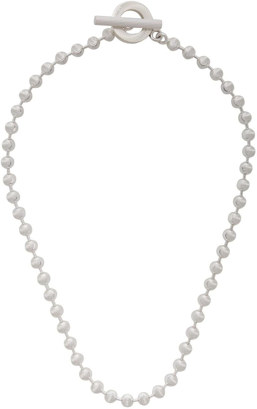 Silver Ball-Chain Choker Necklace