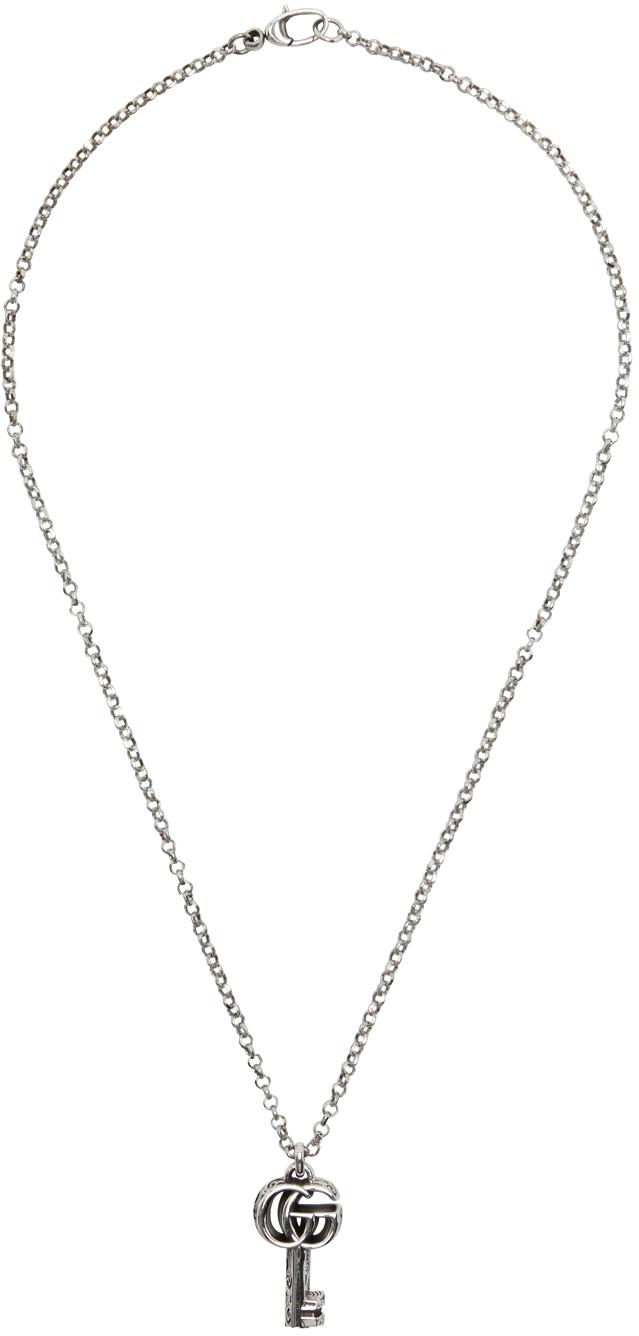 Gucci 银色 GG Marmont Key 项链