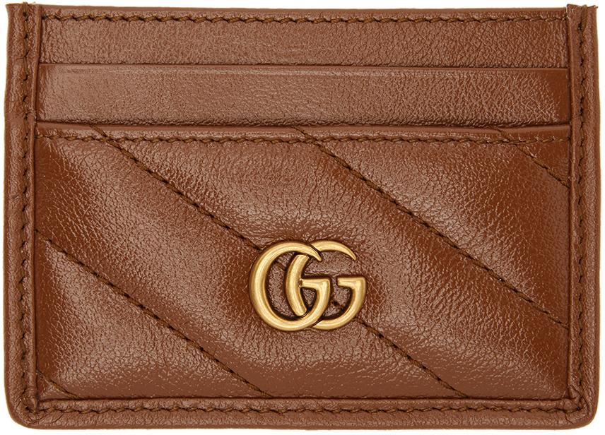 Gucci 棕色 GG Marmont Matalssé 卡包