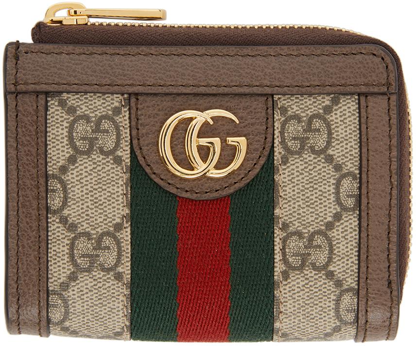 Gucci 驼色 GG Supreme Ophidia 钱包