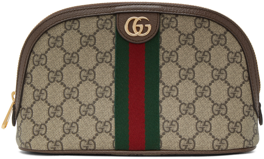Gucci: Brown & Beige Ophidia Supreme Cosmetic Pouch | SSENSE UK