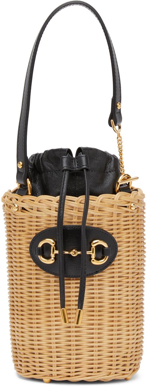 Gucci ベージュ & ブラック スモール Gucci 1955 Horsebit バスケット バッグ