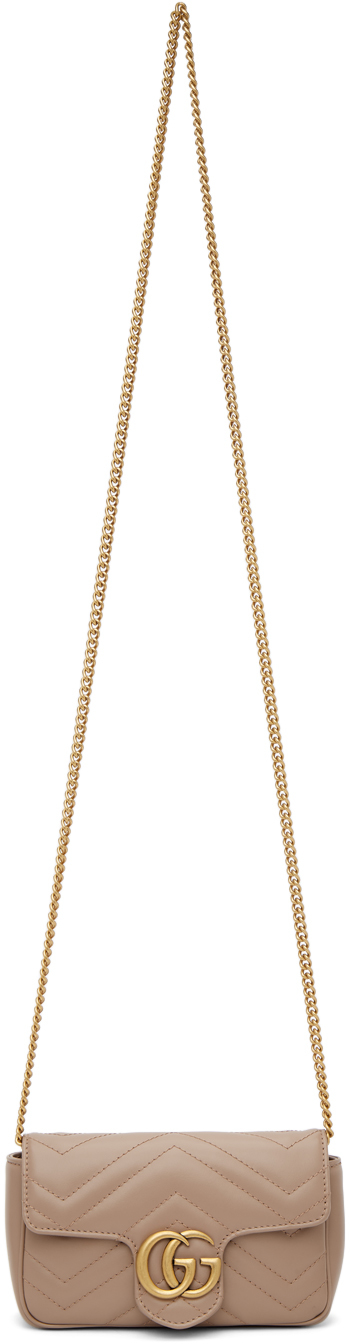Gucci 粉色 Super Mini GG Marmont Matelassé 单肩包