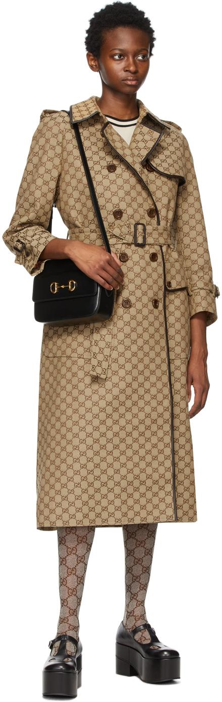 Gucci ベージュ & ブラウン GG Supreme トレンチ コート