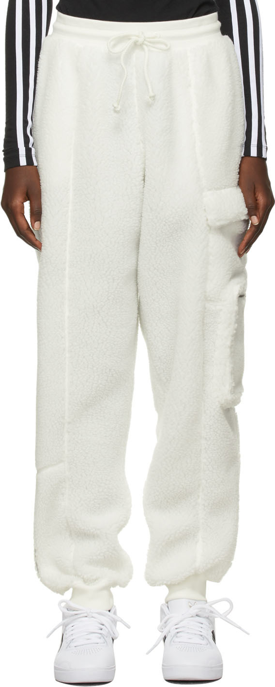 White Teddy Cargo Lounge Pants