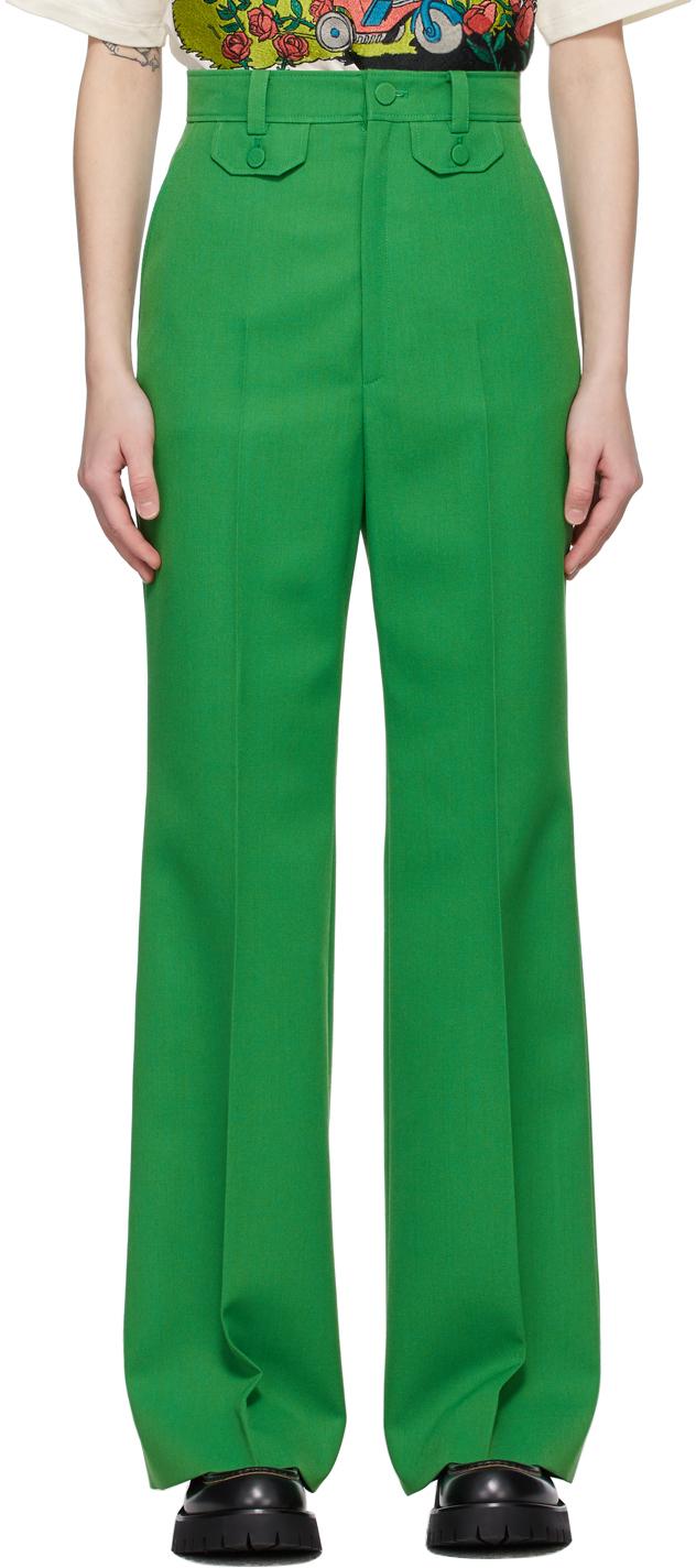 Gucci 绿色喇叭长裤
