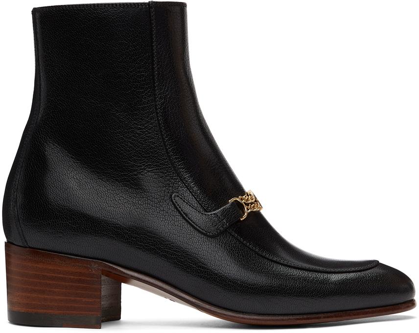 Gucci 黑色 Interlocking G Chain 踝靴