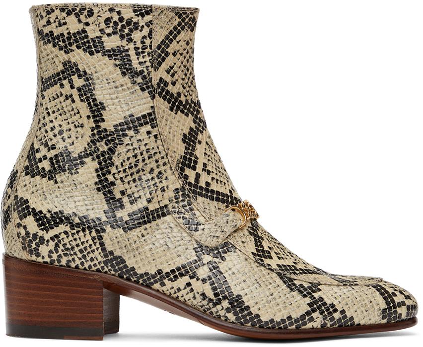 Gucci 米色 & 黑色 Interlocking G Chain 蟒蛇纹踝靴