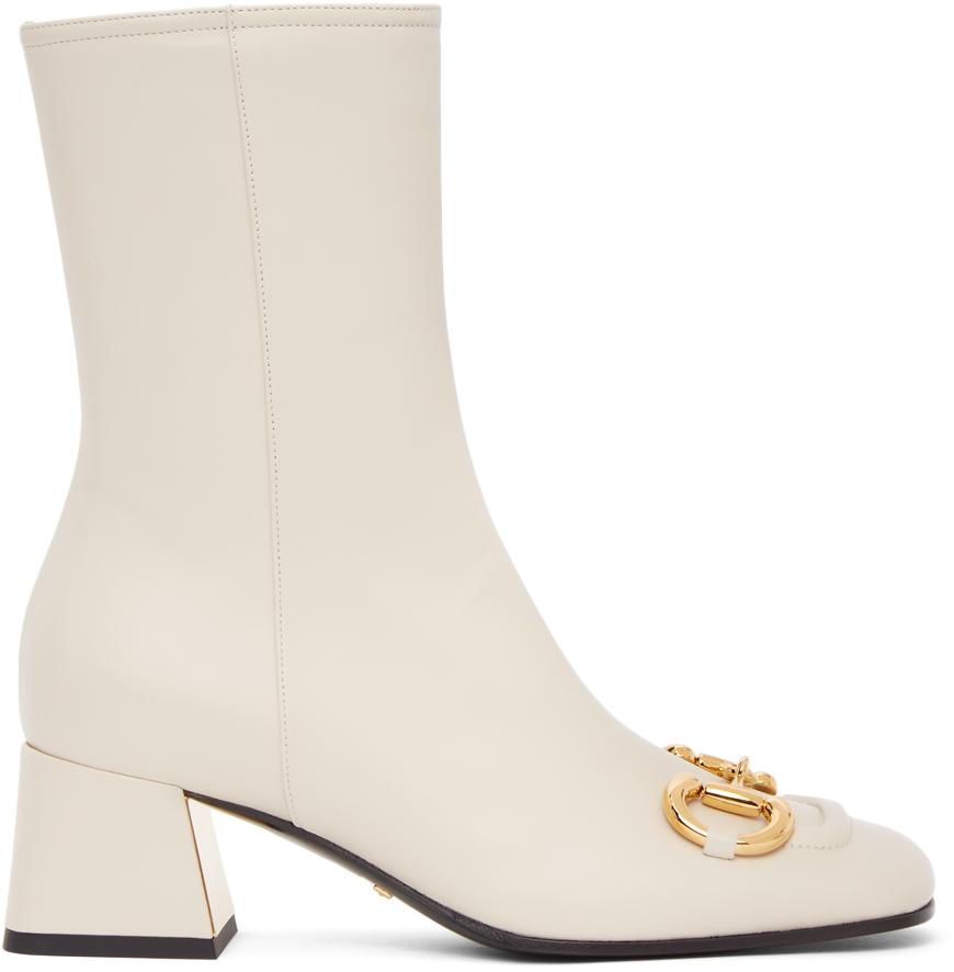 Gucci 灰白色马衔扣踝靴