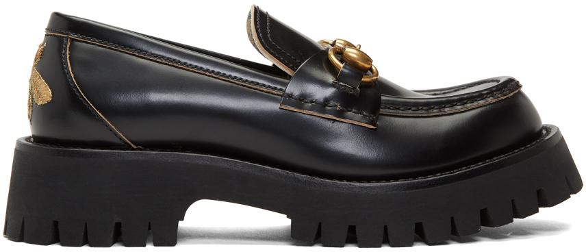 Gucci 黑色沟纹底乐福鞋