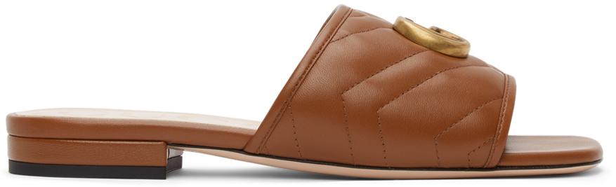 Gucci 棕色 Matelassé GG Jolie 凉鞋