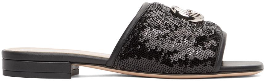 Gucci 黑色 GG 亮片凉鞋