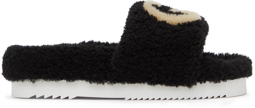 Gucci 黑色 Eileen Interlocking G 拖鞋