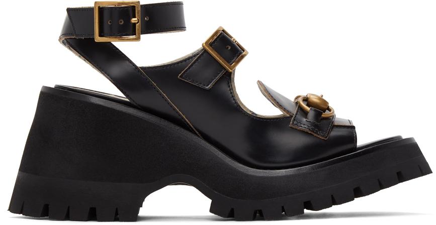 Gucci 黑色马衔扣凉鞋