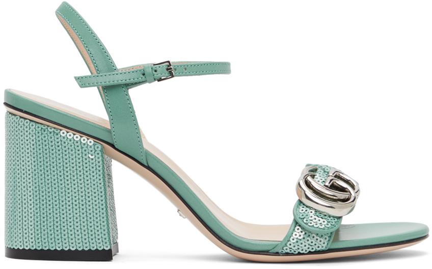 Gucci 绿色 GG Marmont 亮片凉鞋