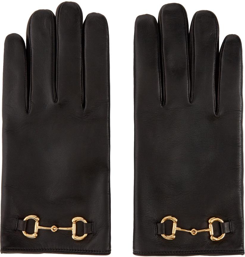 Black Leather Horsebit Gloves
