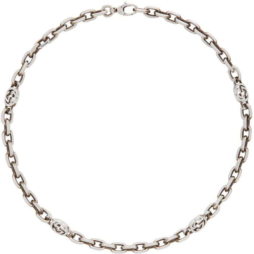 Gucci 银色 Interlocking G 颈链