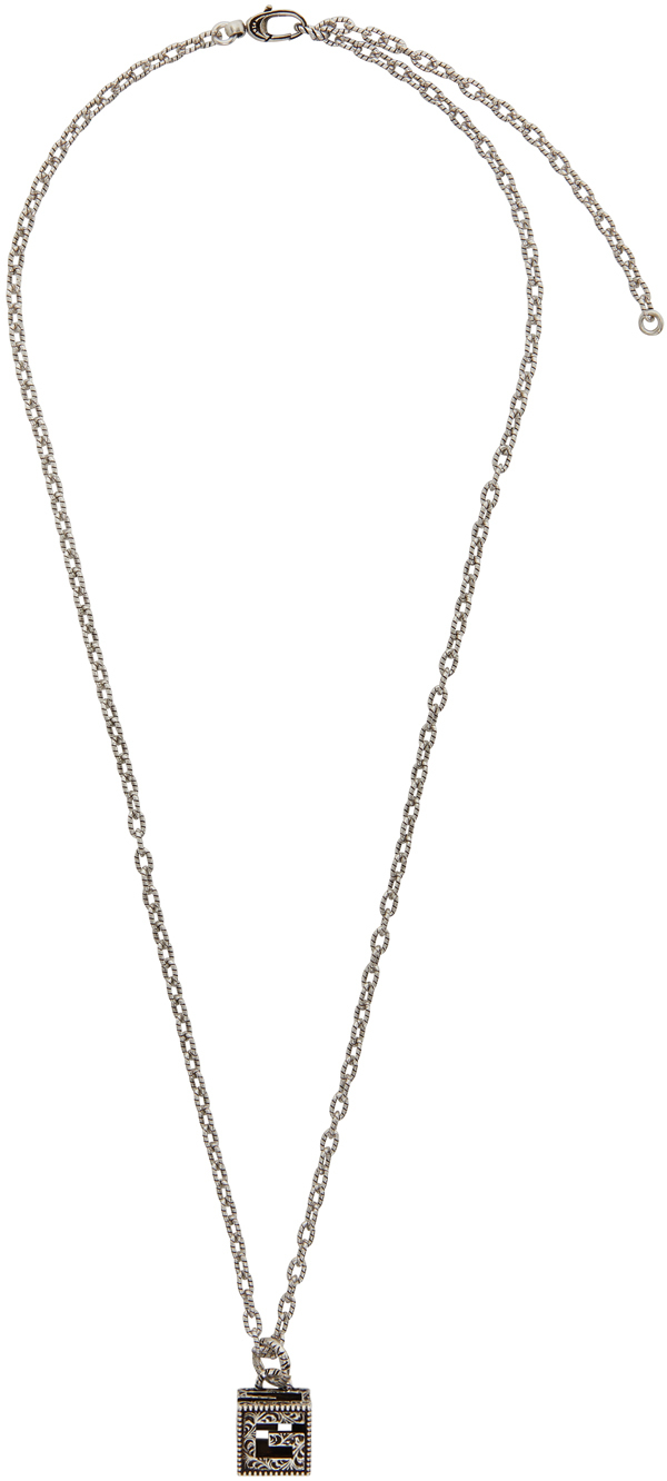 Silver G Cube Necklace