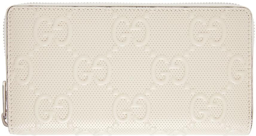Gucci 白色 GG 压花拉链环绕式钱包