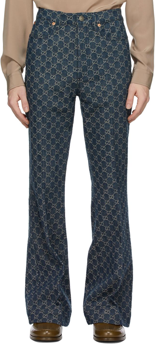 Gucci 靛蓝色 GG 牛仔裤