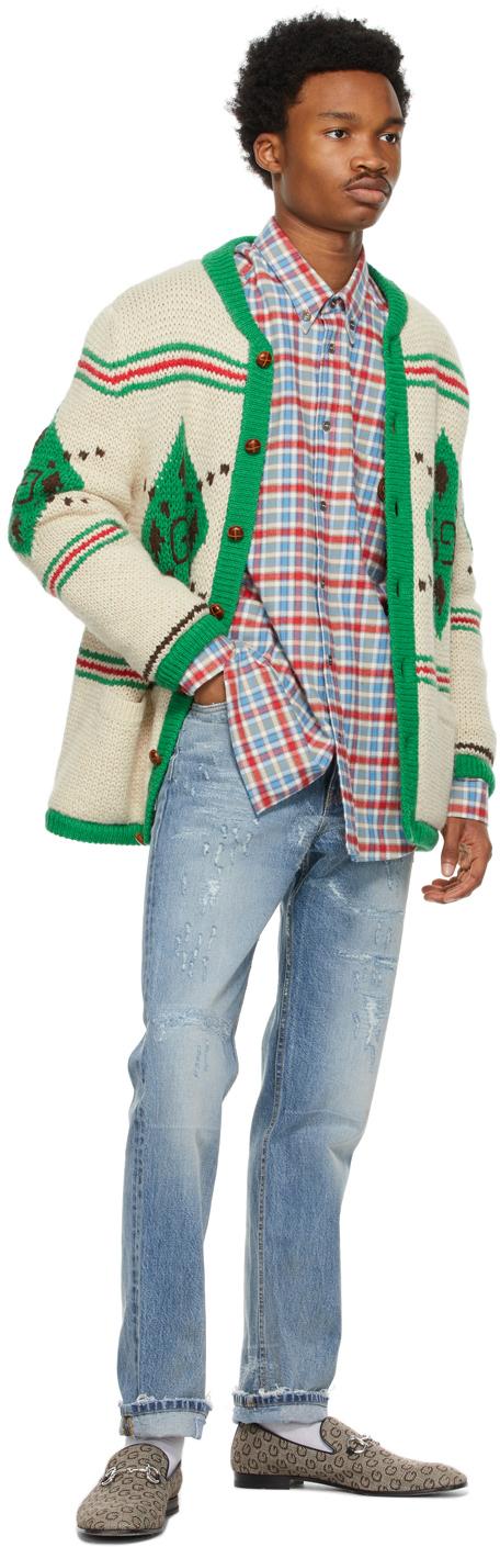 Gucci ブルー & レッド チェック フランネル シャツ