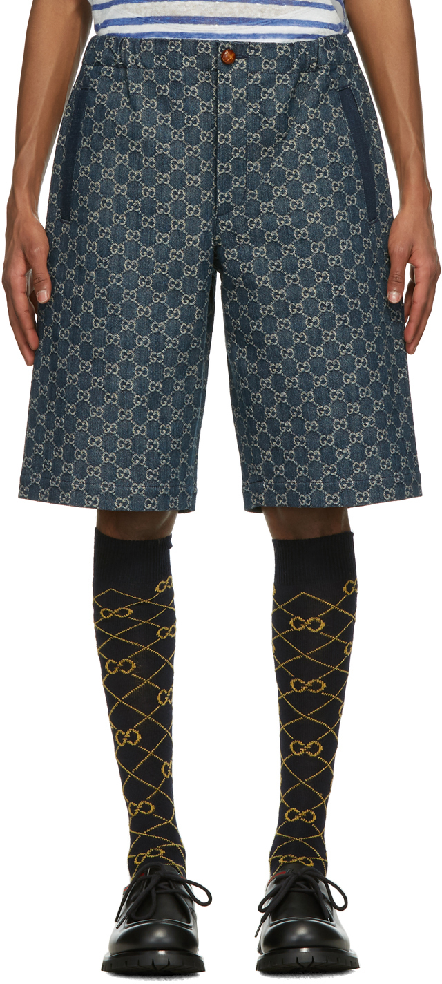 Gucci 蓝色 Eco Washed GG 牛仔短裤