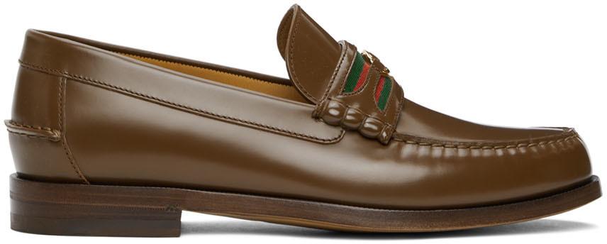 Gucci 棕色 Interlocking G 乐福鞋