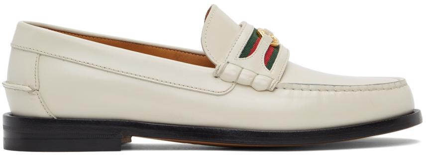 Gucci 灰白色 Double G 乐福鞋