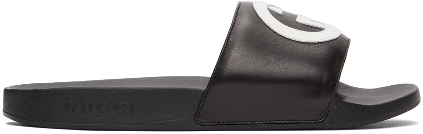 Gucci Black Interlocking G Slides