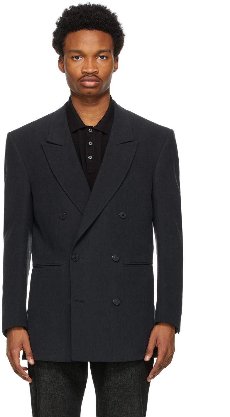Black Linen Oversized Double-Breasted Blazer