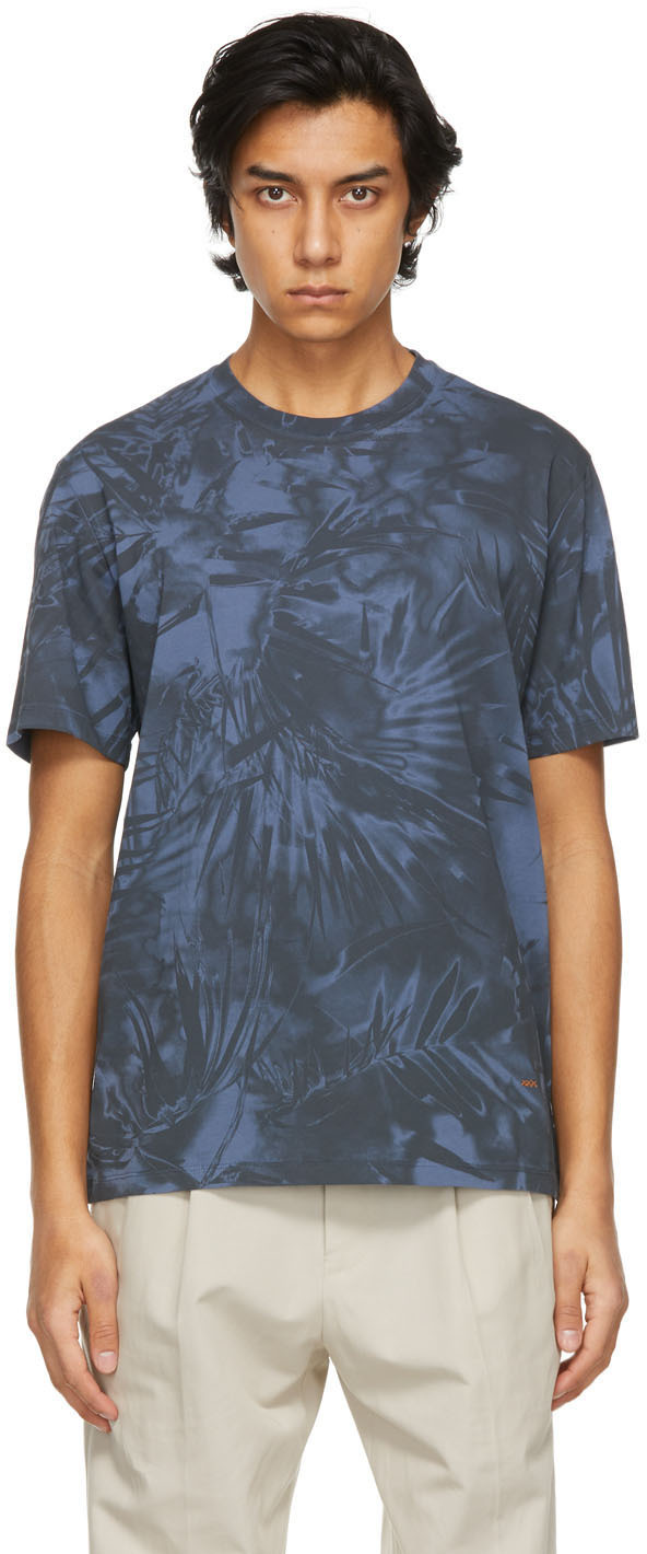 Blue Cotton Graphic T-Shirt