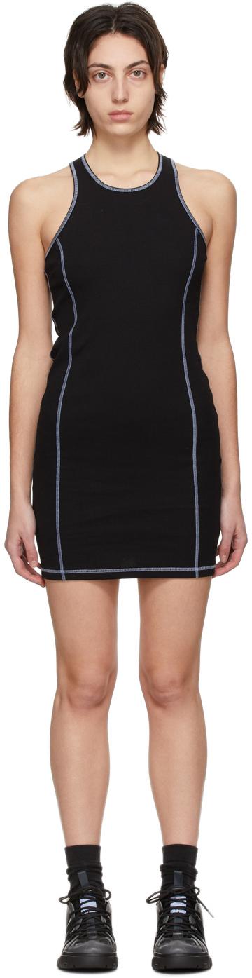 Black Rib Slouchy Sleeveless Dress