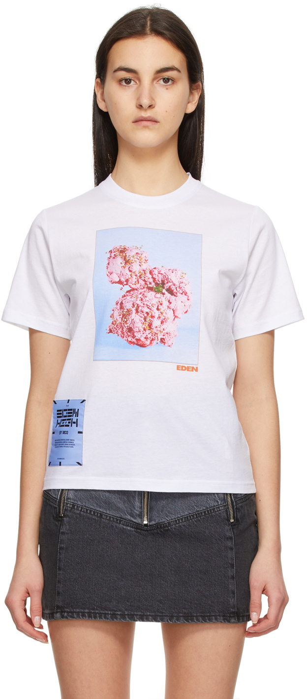 White Fascinated Flowers T-Shirt