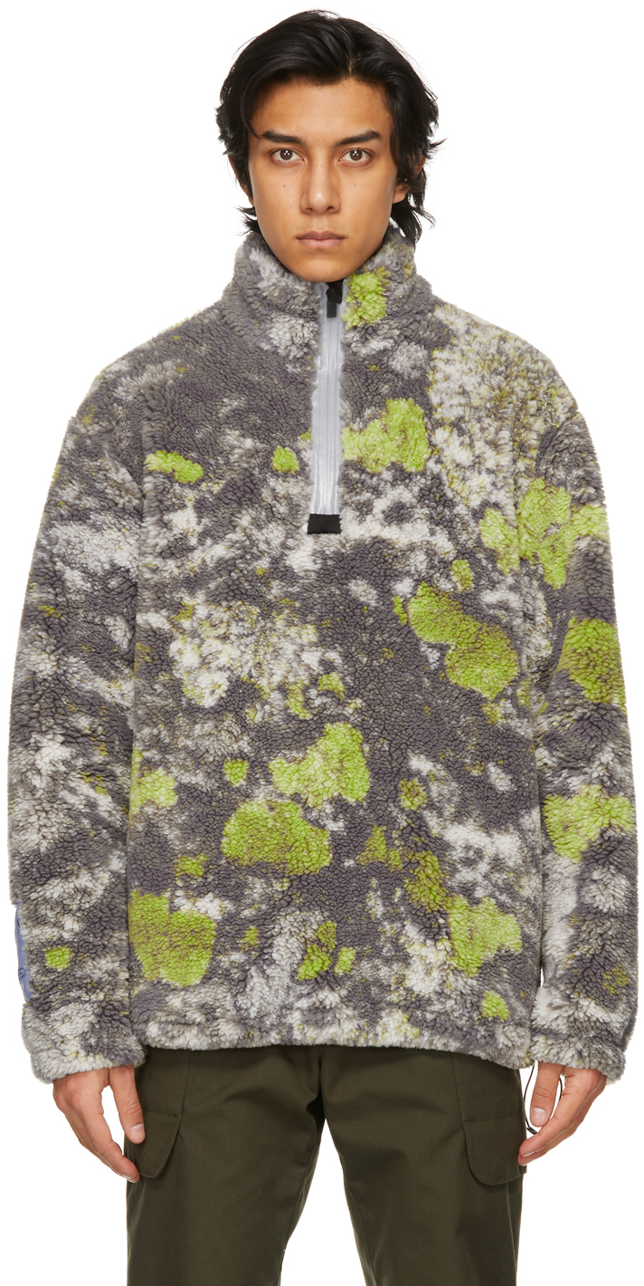 Multicolor Sherpa Fleece Half-Zip Sweater