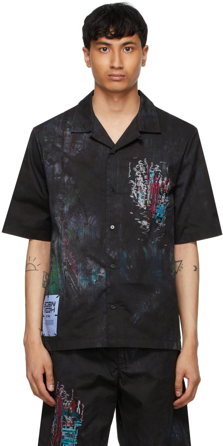 Black Bruised Tie-Dye Casual Short Sleeve Shirt