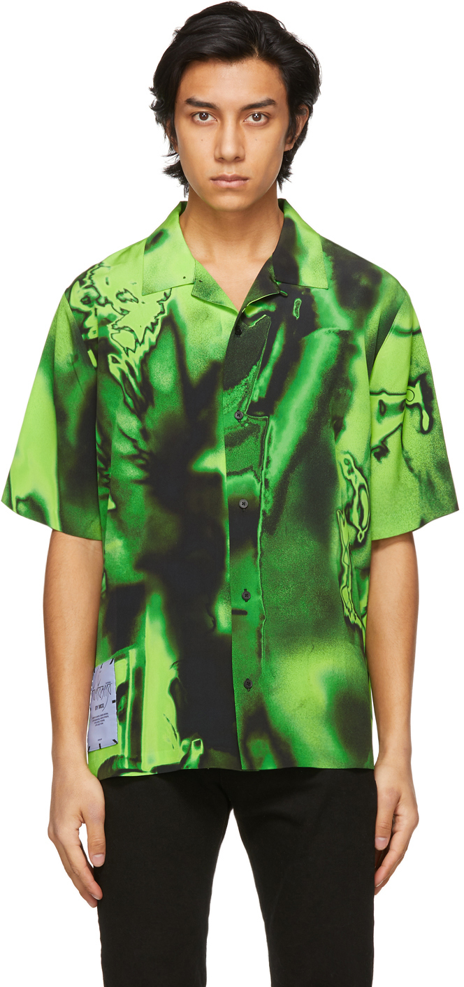 Black & Green Silk Rave Short Sleeve Shirt