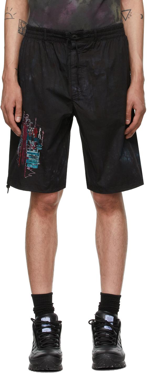 Black Bruised Tie-Dye Bloomer Shorts