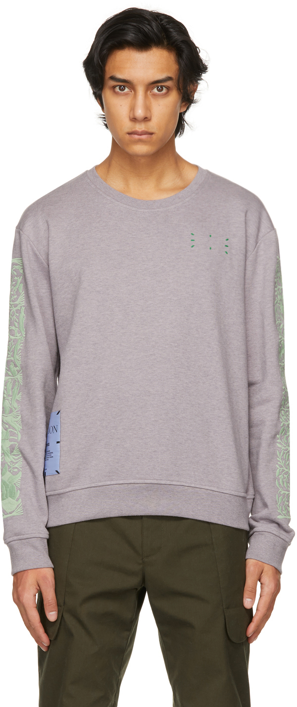 Grey & Green Regular Pullover Sweatshirt