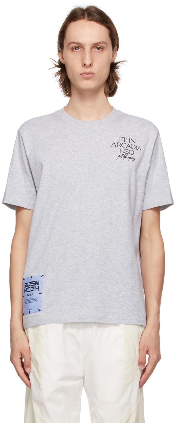 Grey Relaxed Logo 'Arcadia Ego' T-Shirt