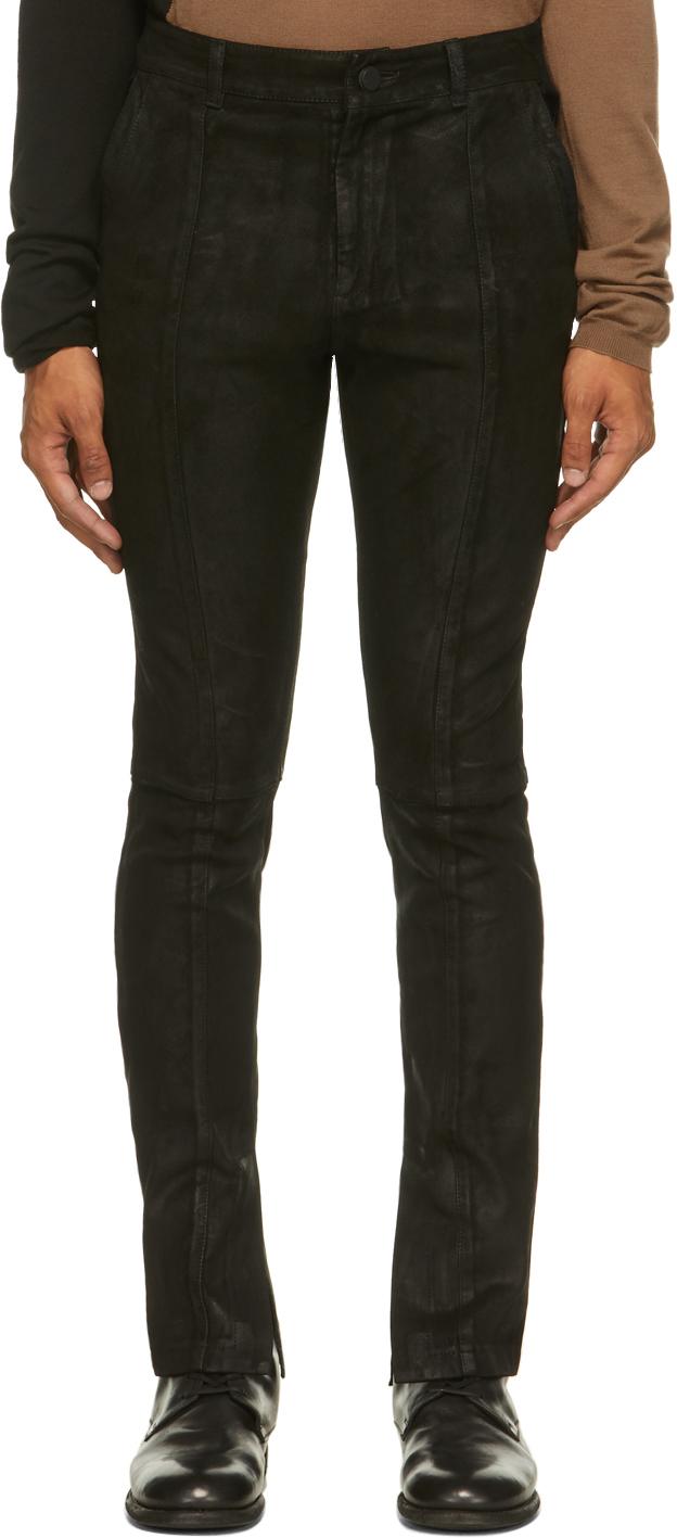 Black Suede Fledermaus Pants