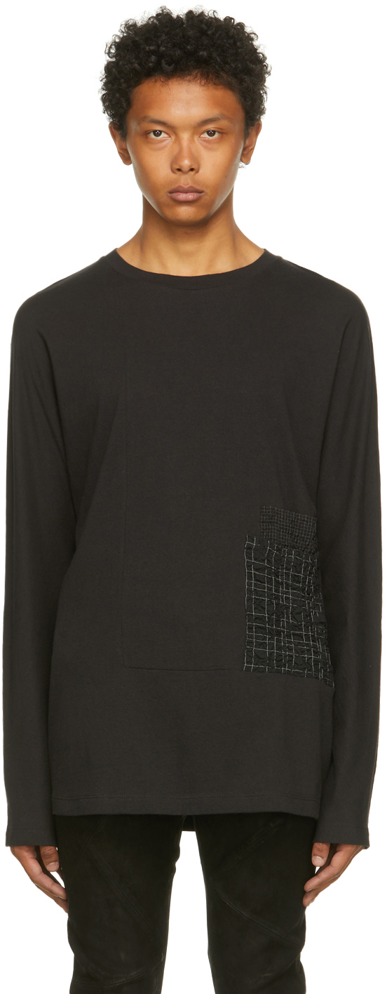 Black Recycled Cotton Permission Long Sleeve T-Shirt