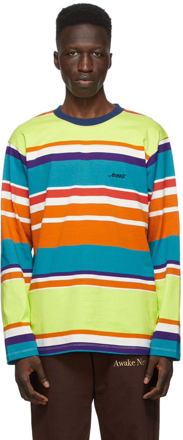 Green Engineered Stripe Long Sleeve T-Shirt