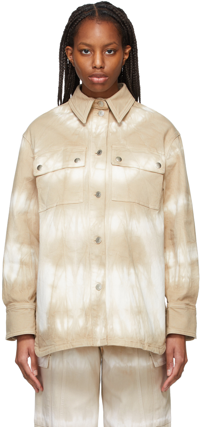 Brown Denim Tie-Dye Bamboo Safari Shirt