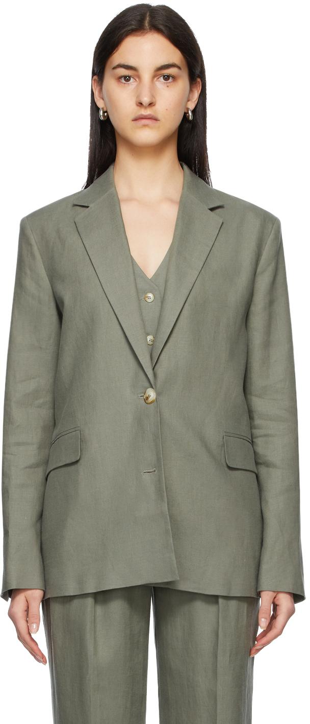 Green Linen Bambo Blazer